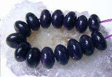 15 RARE BIG NATURAL UNTREATED AFRICAN PURPLE SUGILITE RONDELLE BEADS STRAND 10mm