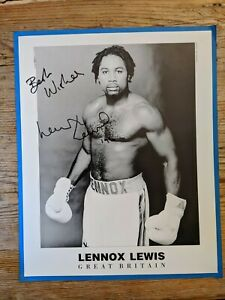 Early Black and White 8 x 10 Autographed Photograph Lennox Lewis