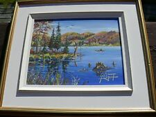 Vintage JEAN-LOUIS LAPOINTE Original Oil On Canvas NORTH COUNTRY LAKE & BOATMEN