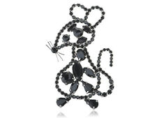 Crystal Rhines Fashionable Pin Brooch Gifts Silver Outline Mouse Jet Black Alloy