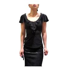 2271e2c7732843 ZAC POSEN Black Ruffle Neck Button Up Silk Blouse 4 S Small