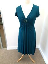 Boden Teal Jersey Dress with Front Decorative Detail - UK Size 14