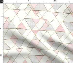 Geometric Blush Rose Gold Triangles Modern Spoonflower Fabric by the Yard