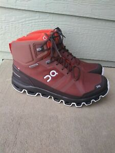 NEW Men's On Running Cloudrock Waterproof Cocoa/ Red Hiking Boots On Cloud Shoes