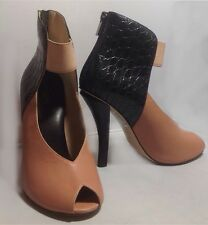New Ask Alice Apricot & Black High Heeled Peep-toe Leather Zip Booties SZ 37