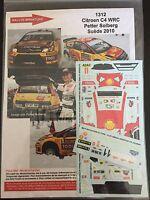 DECALS 1/43 CITROEN C4 WRC PETTER SOLBERG RALLYE SUEDE 2010 RALLY WRC