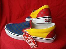 Vans Classic Men 11 Slip-On Rally Checkerboard SkateShoe Navy/Yellow/Red Sneaker