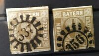 Bayern 2 x 9 Kreuzer braun, Nr. 11, l. berührt, gMR 356 Nbg/537 Obersteinach (Of