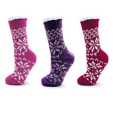 Ladies/womens Fairisle Knit Slipper Socks Boots, Fluffy Lining & Non Slip Soles
