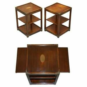 PAIR OF HARRODS KENNEDY DOUBLE SIDED MAHOGANY CAMPAIGN SIDE END LAMP WINE TABLES