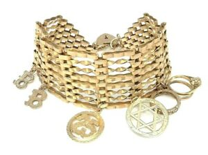Womens 9ct / 9 Carat / 9K / 9 Karat 1970's Gold 375 Charm Bracelet - 39.37g