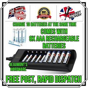 10 Slots Intelligent Fast Battery Charger Plus 8x AAA Rechargeable Batteries NEW