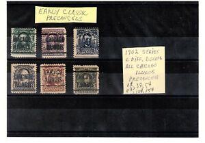 JimbosStamps, U.S.precancels,1902 series, six diff. denom., CHICAGO ILLINOIS