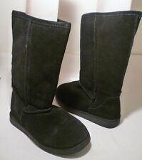 Ladies Sz 5 Black Mid-Calf Suede Leather Pull-On Boots by Exhilaration®
