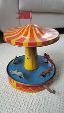 ANTIQUE TIN LITHO MECHANICAL WIND MERRY GO ROUND CAROUSEL Pittsburgh PA U.S.A.