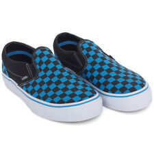 NWT boys size 4 TODDLER Vans Slip-On blue Checkered OFF THE WALL Shoes