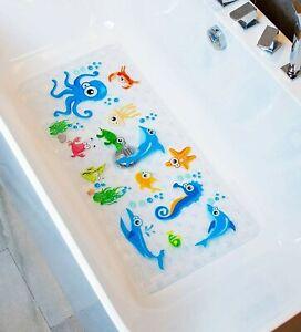 BeeHomee Bath Mats for Tub Kids - Large Cartoon Non-Slip Bathroom Bathtub Kid M