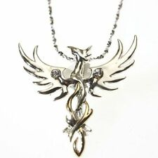 New Sun Phoenix Sterling Silver 925 Crystal Pendant Necklace Anne Stokes Mythica