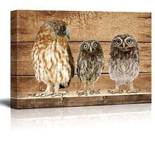Rustic Canvas Wall Art - Three Owls - Giclee Print Modern Wall Decor - 12x18