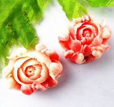 2pcs Beautiful pink Giant clam carved flower pendant bead 23x12mm BD280