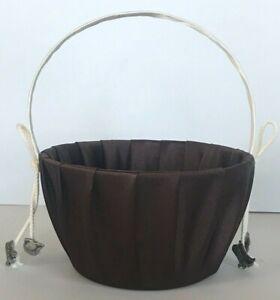 Western Wedding Brown Flower Basket , Silver Tone Cowboy Charms