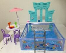 Barbie Size Dollhouse Furniture Water Fountain & Swimming Pool Play Set, New
