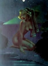 BILL LAYNE vintage PINUP Girl calendar page ON THE BEAM 1940s original Swimmer