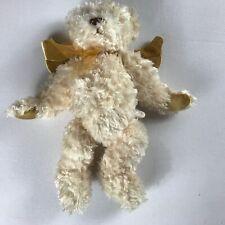 """Gund Plush Angel Bear 12"""" Stuffed Beans Musical Jesus Loves Me Gold Ribbon Bow"""