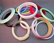 VTG Lot 12 Plastic Bangle Bracelets Some New Old Stock Variety Colorful Saucer