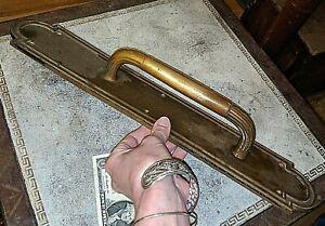 """Gorgeous Antique Brass Heavy 19"""" Large Art Deco Nouveau Rupert Door Handle"""