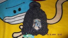 child's warm, lined, beanie hat with pompom by MONSOON, navy, new with tags
