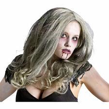 Zombie Queen Green/Grey Wig Halloween Fancy Dress Costume Accessory