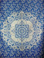 Blue Golden Trippy Mandala Psychedelic Bohemian Wall Hanging Posters/Tapestries