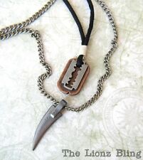Shark Tooth / Fang & Razor Blade Pendant on Black Wax Cord & Chain Necklace