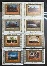 Lot 8 timbres UMM AL QIWAIN. 1972, trains Mi:UM 1210ABL + ...