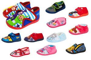 Kids Character Slippers Boys Girls Easy Fasten Or Slip On Nursery House Shoes