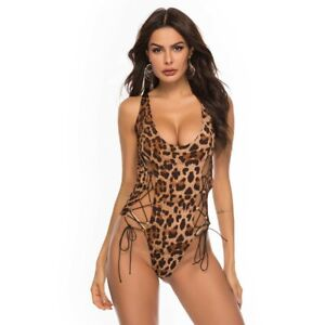 Leopard Lace Up Stretchy Erotic Lingerie Slips Thong Teddy Bodysuit S-4XL W2084