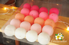 STRING LIGHTS 20 PINK COTTON BALL PARTY PATIO FAIRY WEDDING CHRISTMAS