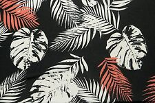 Black White Red Leaves ITY Print #222 Stretch Polyester Lycra Spandex Fabric BTY