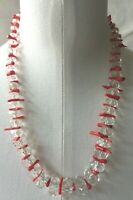 Unique Designer Hand Faceted BEZEL Graduated Crystal Beads with coral Necklace