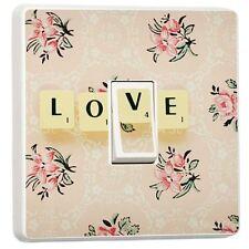 Vintage Diseño Floral Amor Fichas De Scrabble Vinilo Interruptor Pegatina
