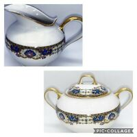 Vtg Limoges Jean Boyer Porcelain Creamer & Sugar Bowl with Lid France Set Of 3