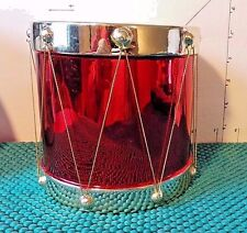 FTD Flowers Snare Drum Vase/Planter, Red & Silver, 5""