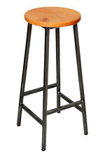 'Bertie Elmo' Steel Frame Industrial Bar Stool with Round Elm Seat