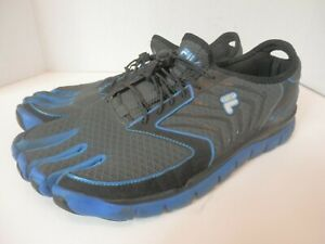 FILA Skele-Toes 5 Finger Water Shoes-Mens 11-VGC-Blue/Black-Free Shipping