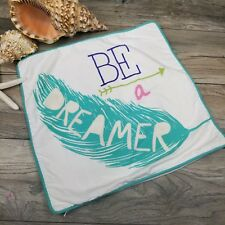 "Pottery Barn PB Teen Be A Dreamer Square Pillow Cover 18"" Embroidery Feather"