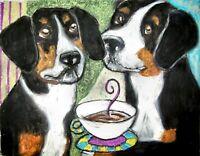 ENTLEBUCHER MOUNTAIN DOG Drinking Coffee Dog Pop Art Signed Print 8 x 10 KSAMS