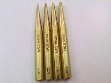 4pc Brass Gunsmith Pin Punch Set Gun Care Tapered MADE IN USA