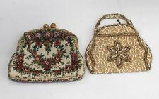 2 VINTAGE Embroidered & Beaded CLUTCH BAGS / PURSES - Y98