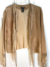 Vintage Bebe Suede Leather Fringe Jacket Western Unlined Fringe Jacket 90's Sz S